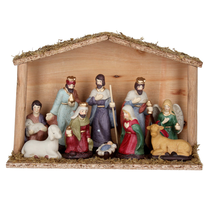 Gisela Graham Ceramic Nativity Figures in Wood Stable Ornament
