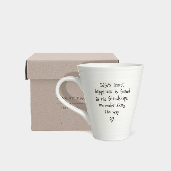 East of India Porcelain Mug - Life's Truest Happiness