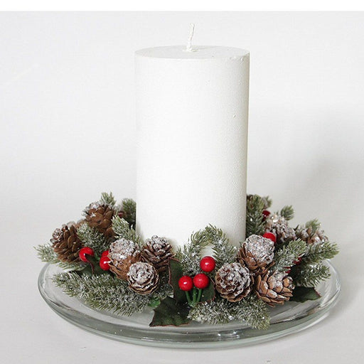 Gisela Graham Frosted Fir Red Berry Candle Ring