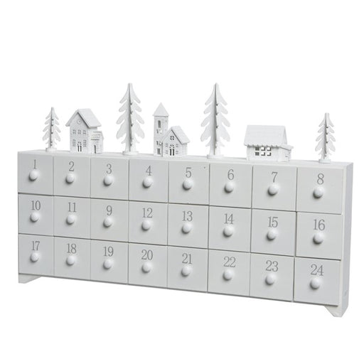 Wooden White Tree Village Advent Calendar