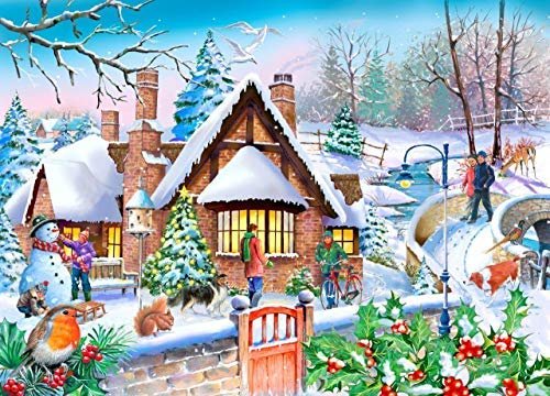 HOP Snowy Cottage Big 250 Piece Jigsaw Puzzle