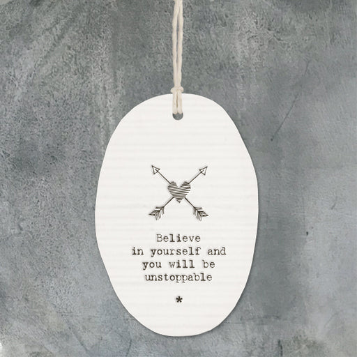 East of India Porcelain Hanger Arrows - Believe in Yourself