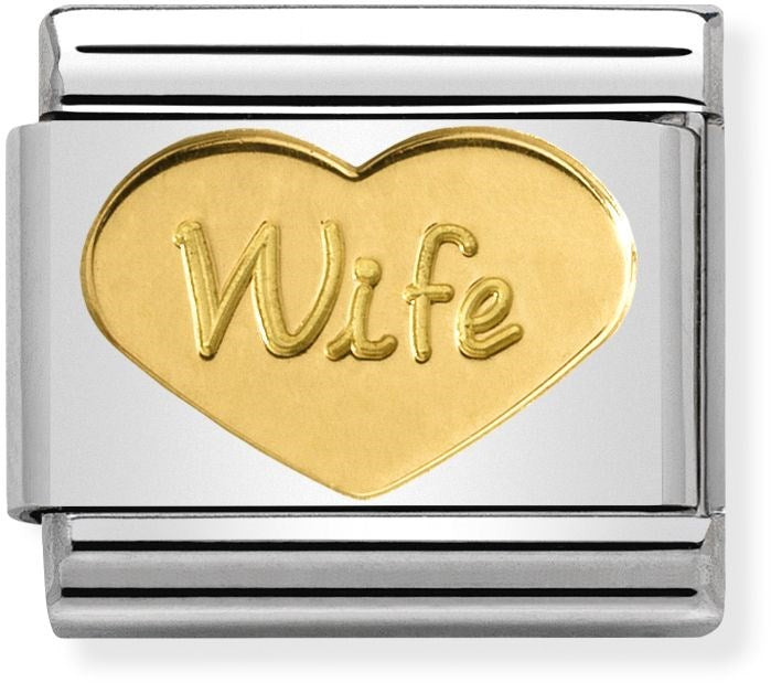 Nomination Classic Gold Charm - Wife Heart