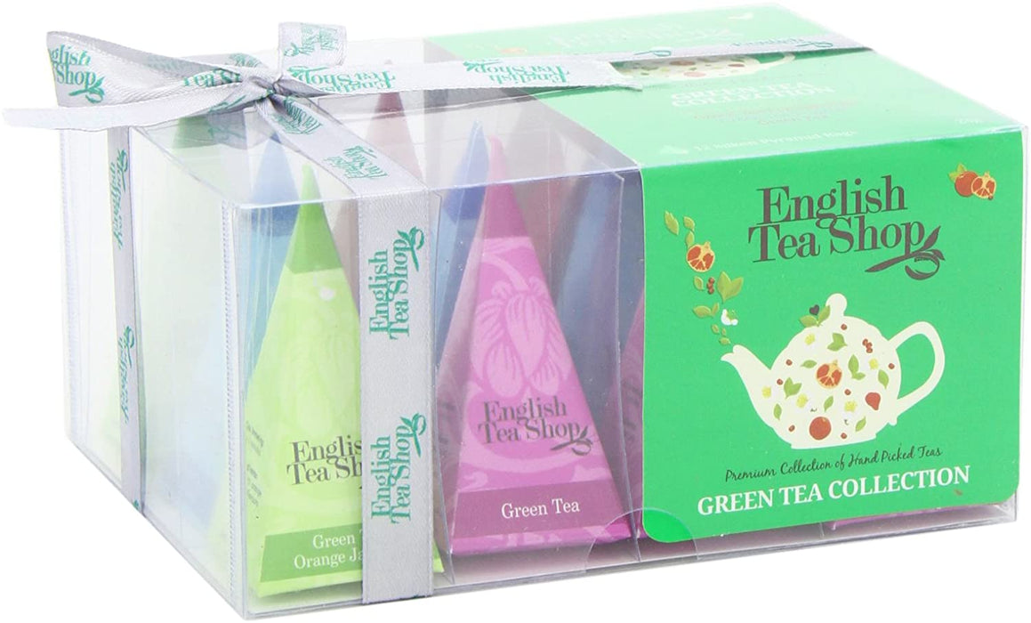 English Tea Shop Green Tea Collection 12 Pyramid Tea Bags Gift