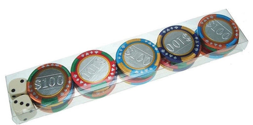 Chocolate Casino Chips with Dice 100g