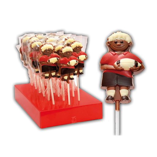 Chocolate Rugby Player Lollipop