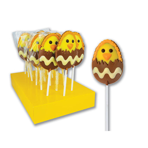 "Hand Decorated Chocolate Lollipops ""Hatching Chick"""