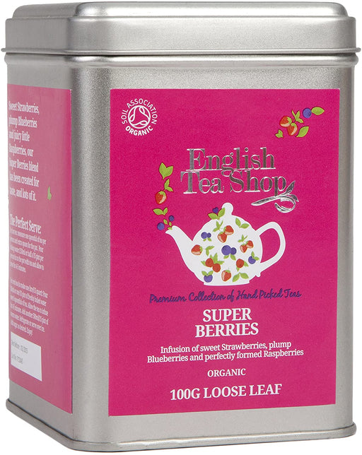 English Tea Shop Organic Super Berries - 100g Loose Leaf Tea in a Tin