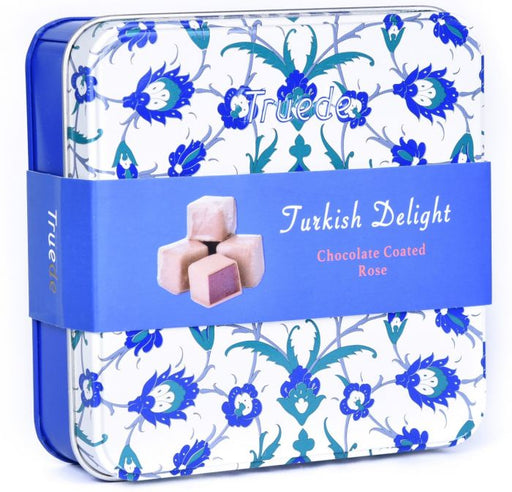 Chocolate Coated Rose Turkish Delight Tin Boxes 125g