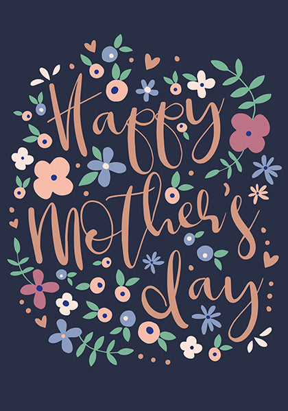 Navy Floral Happy Mother's Day Card