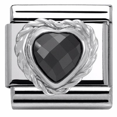 Nomination Classic Charm - Black Faceted Heart Stone