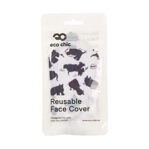 Eco Chic Reusable Face Cover White Scotty Dog