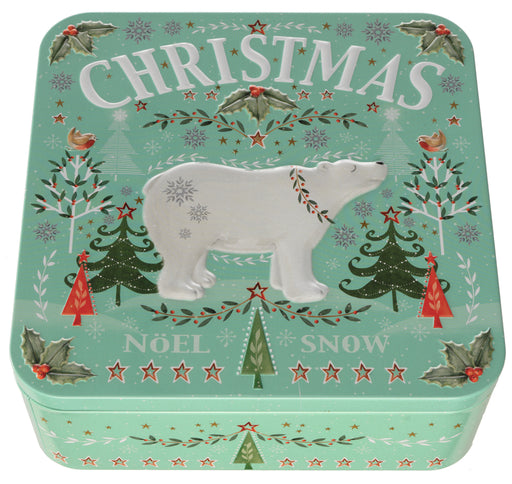 Polar bear Square Tin of Mini Butterscotch Toffee Biscuits