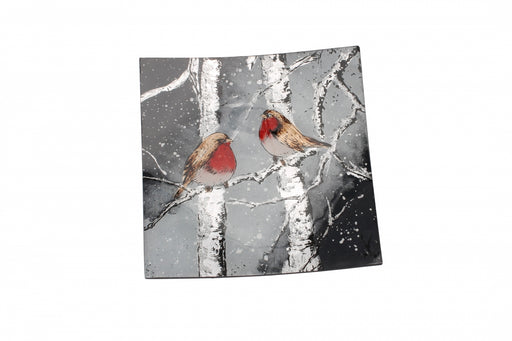 Winter Robin Small Glass Square Plate
