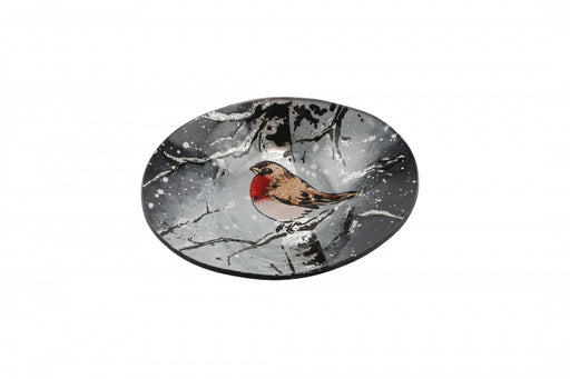 Winter Robin Small Glass Oval Bowl