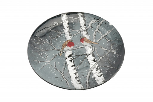Winter Robin Large Glass Circular Dish