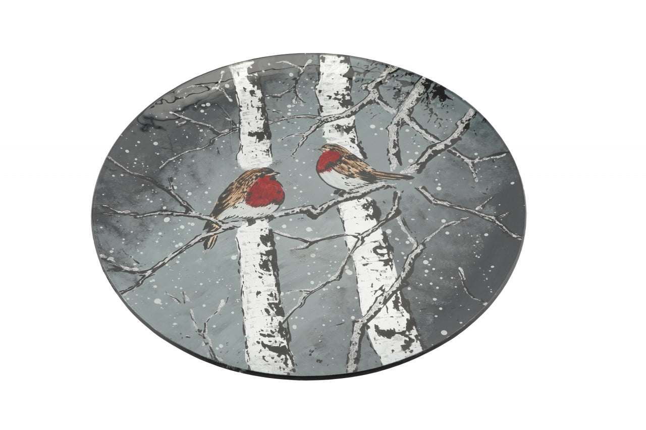 Winter Robin Large Glass Plate
