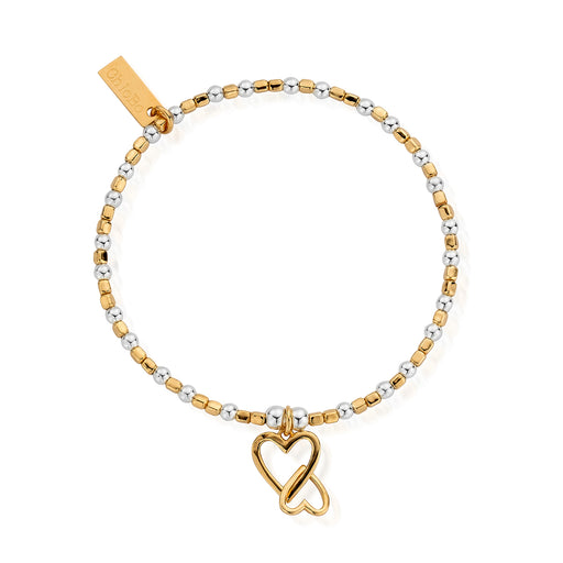 Chlobo Gold & Silver Mini Cube Love Heart Bracelet