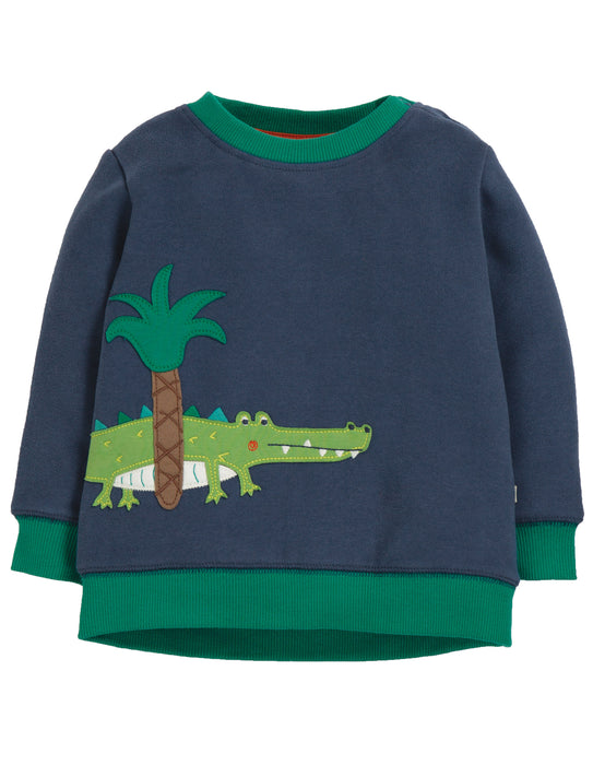 Frugi Jump About Jumper, Space Blue/Croc