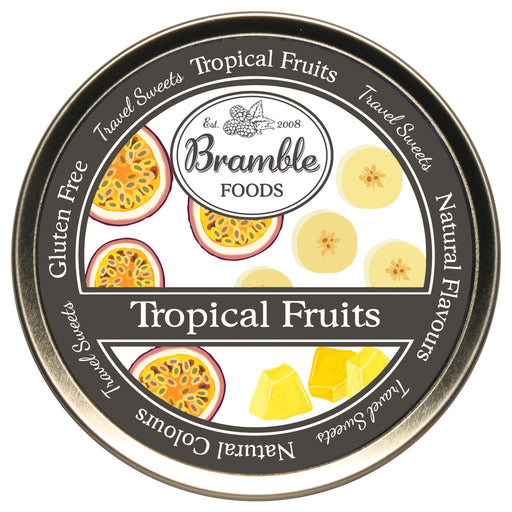 Tropical Fruit Drop Travel Sweets Tin
