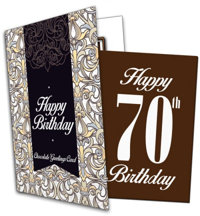 70th Birthday Chocolate Card