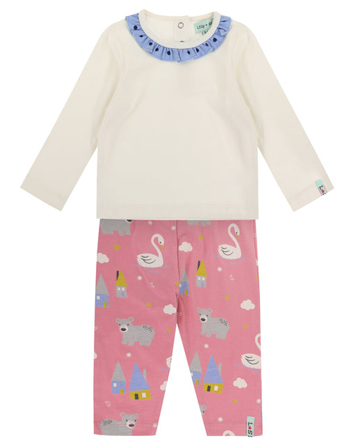 Lilly & Sid Frill Neck Top And Swan Leggings Set