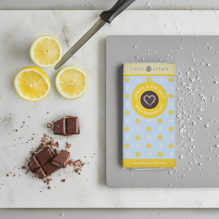 Choc Affair Lemon & Sea Salt Milk Chocolate Bar