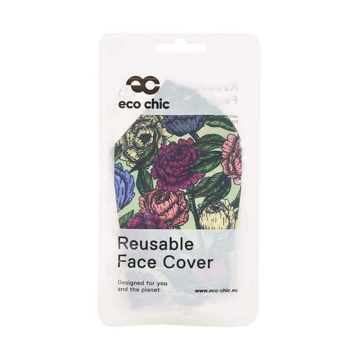 Eco Chic Reusable Face Cover Green Peonies