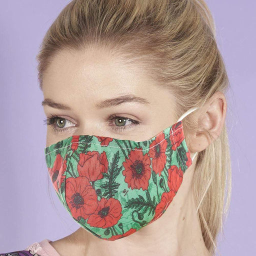 Eco Chic Reusable Face Cover Green Poppies