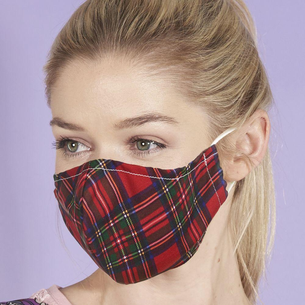 Eco Chic Reusable Face Cover Red Tartan