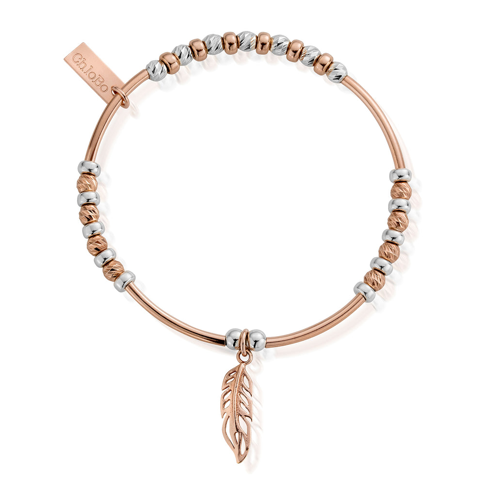 Chlobo Rose & Silver Sparkle Feather Bracelet