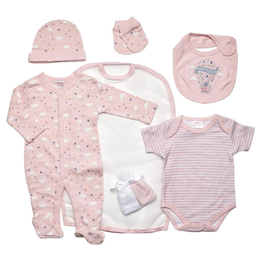 Clouds Pink 7 Piece Layette Set