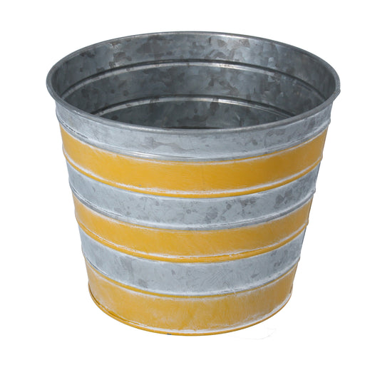 Gisela Graham Yellow Stripe Tin Pot