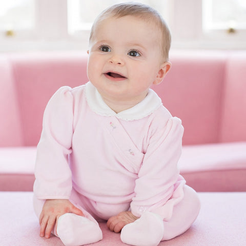 Novea Girls Pink Velour Babygrow