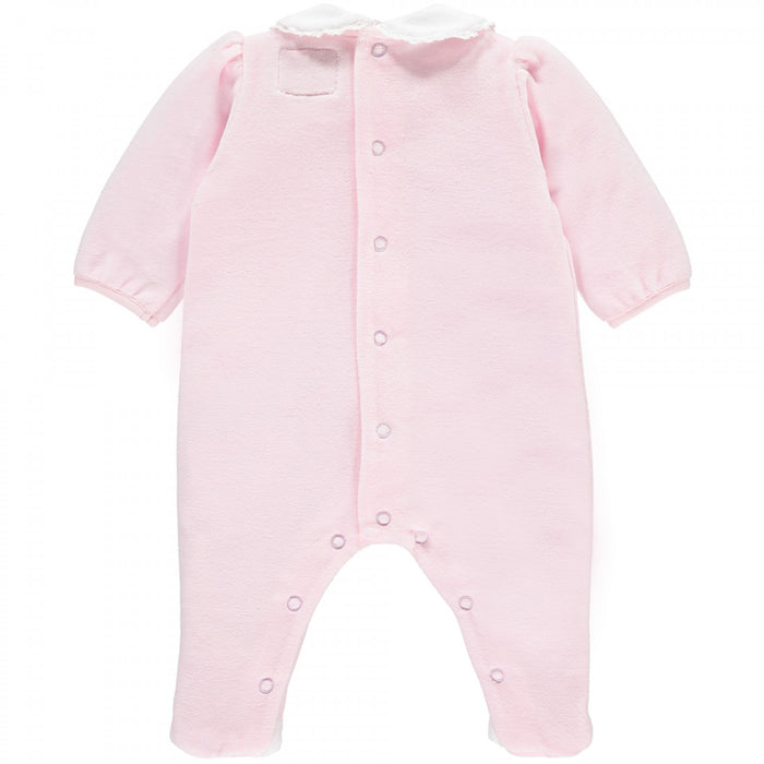 Emile et Rose Novea - Girls Pink Velour Babygrow