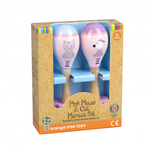 Orange Tree Pink Mouse & Cat Maraca Set