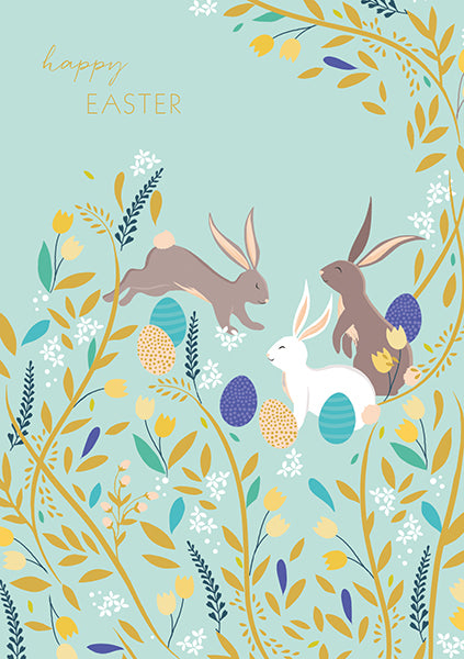 Sara Miller Rabbit & Eggs Easter Card