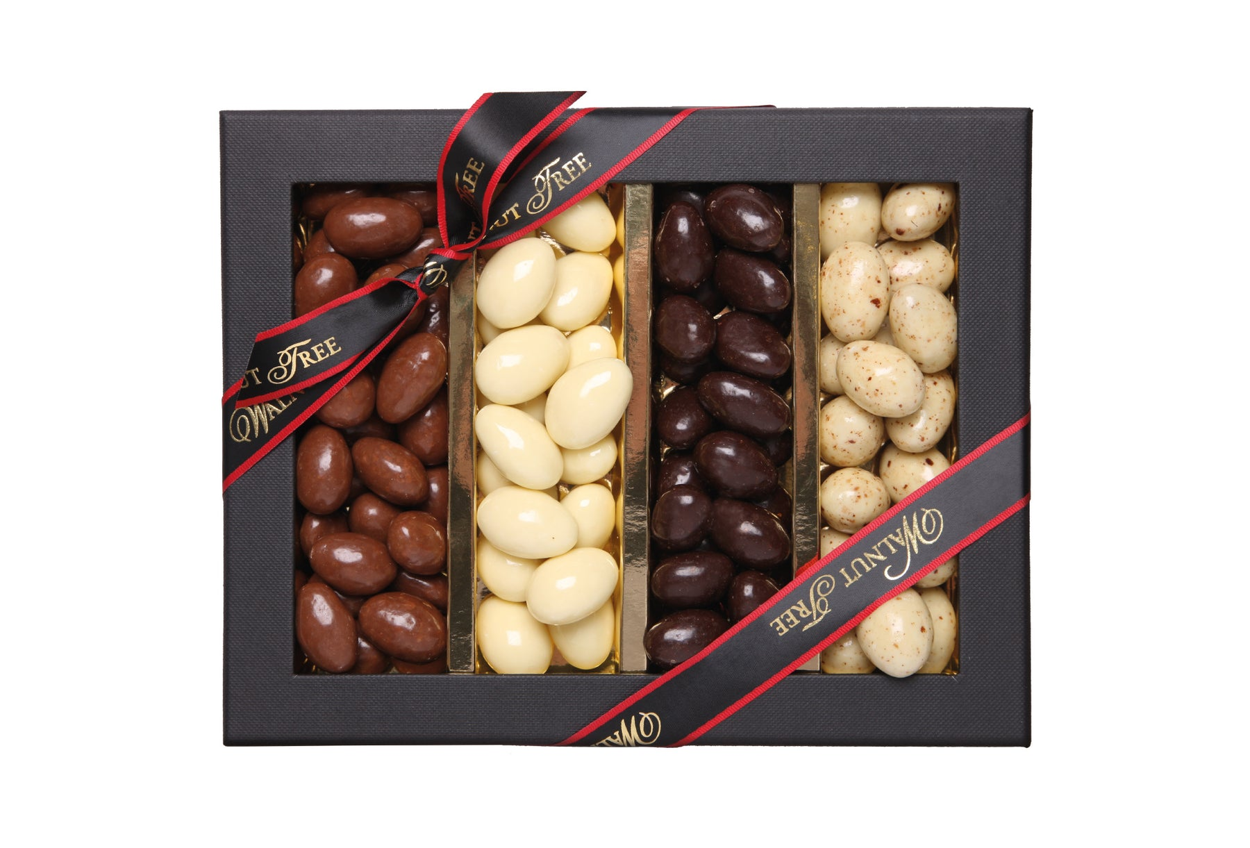 Walnut Tree Four Stripe Assorted Chocolate Almond Box