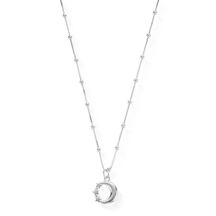 Chlobo Silver Bobble Chain Moon & Star Necklace
