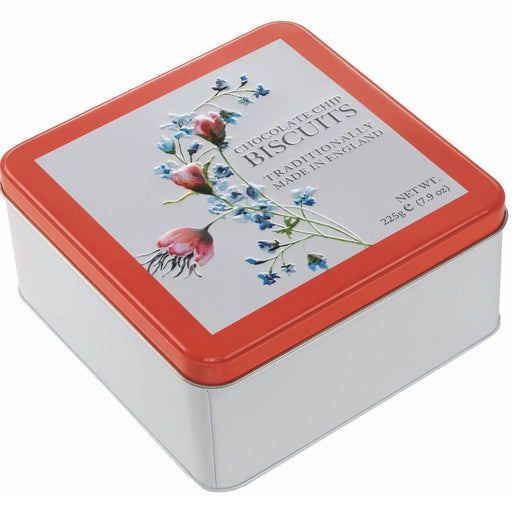 Traditional Chocolate Chip Biscuits in Floral Tin