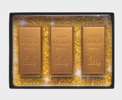 Decorated milk chocolate bars of gold in gift box  - Dated 22/8/20