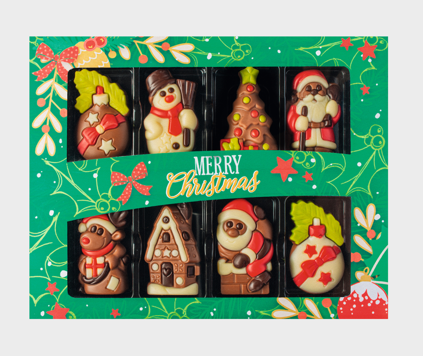 Decorated Solid Milk Chocolate Christmas Caraques in Gift Box