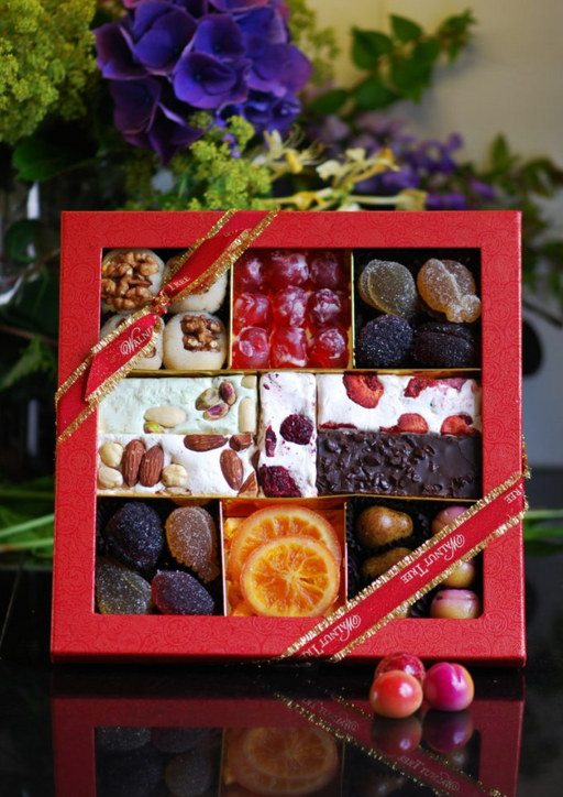 Walnut Tree Seven Section Luxury Cornucopia - Marzipan, Nougat, Pate de Fruit, Glacé Cherry & Dried Orange