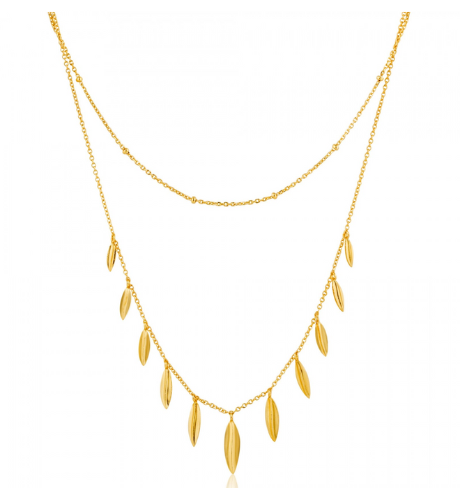 Ania Haie Tropical Double Leaf Gold Necklace