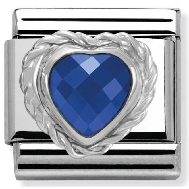 Nomination Classic Charm - Blue Faceted Heart Stone