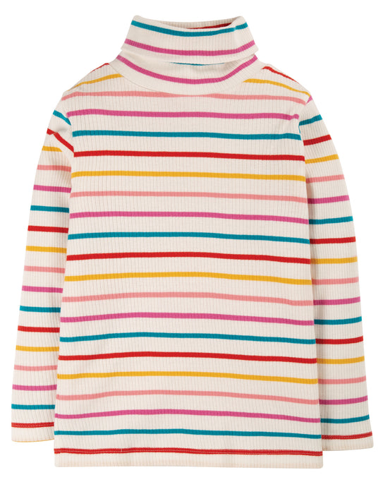 Frugi Ginger Rainbow Breton Ava Stripe Roll Neck