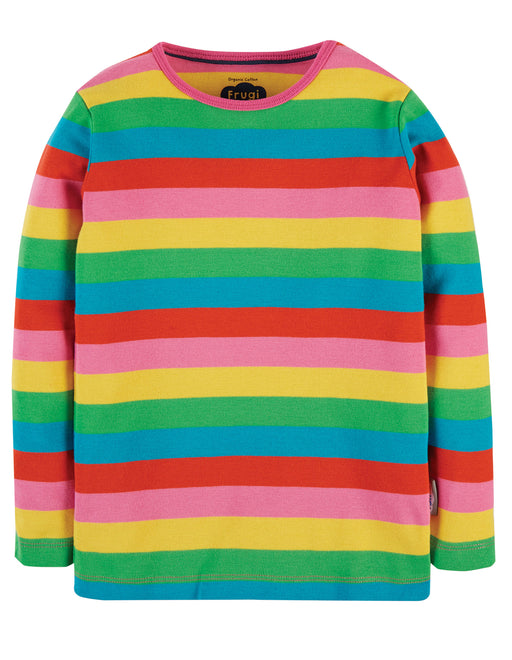 Frugi Foxglove Rainbow Stripe Favourite Long Sleeve Tee