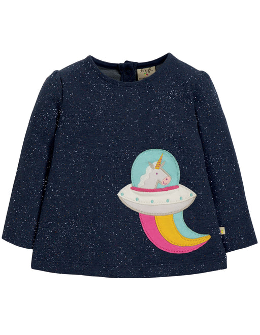 Frugi Mabel Applique Top, Space Blue Nepp/Unicorn
