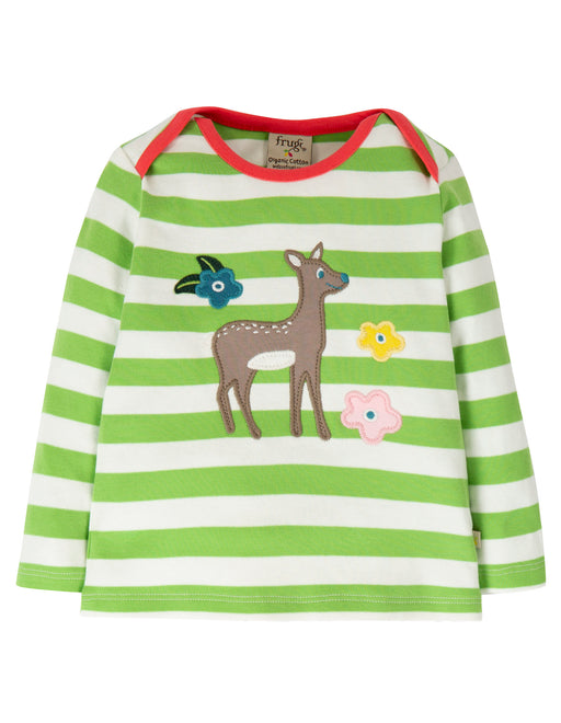 Frugi Bobby Applique Top, Kiwi Stripe/Deer