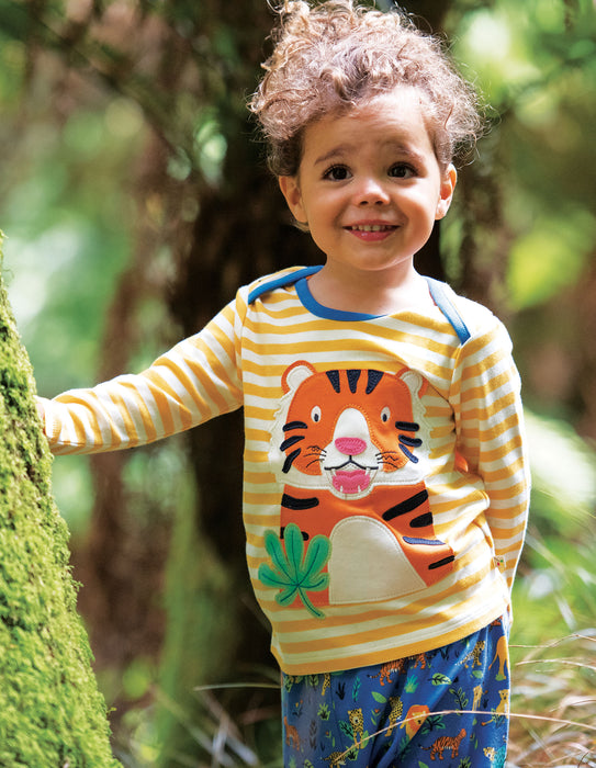 Frugi Bumble Bee Stripe/Tiger Bobby Applique Top